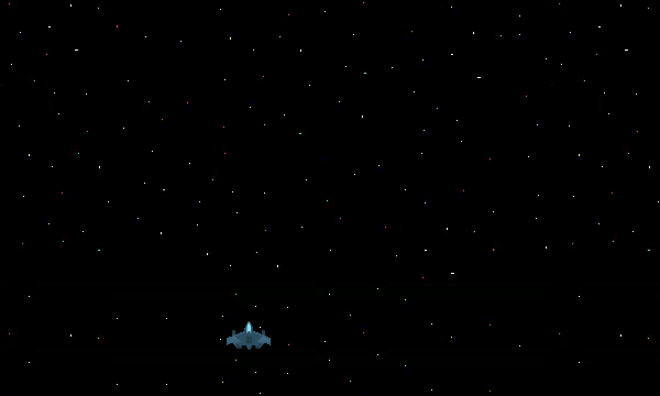 A space ship on a starry background in space