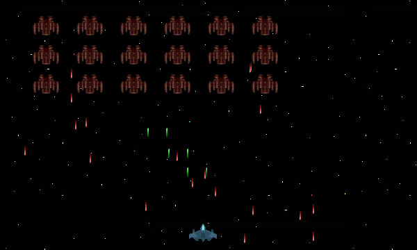Enemy space ships flying in formation, shooting lasers at the player space ship set against a starry background in space
