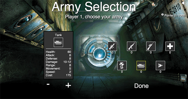 Chronos Army  Selection screen